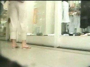 Girls in flip flops underskirt videos made by street voyeurs