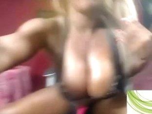Busty ebony shemale masturbates