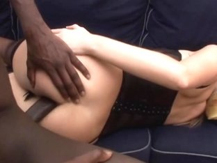 Hawt golden-haired angel in lingerie can't live out of biggest black shlong fucking her constricte.