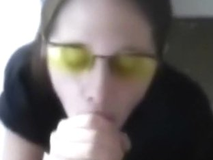She gets jizz on her glasses