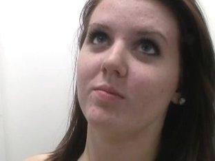 Slutty brunette chick showing her skills for a pornstar job