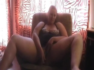 BBW thick and heavy German wife on the armchair masturbating