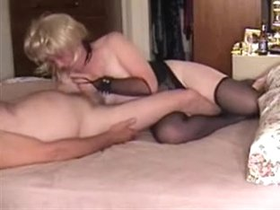 Manacled mature wife gives him a great blow