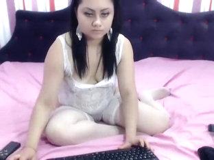 Curvy webcam model MisterryEyes in white lingerie