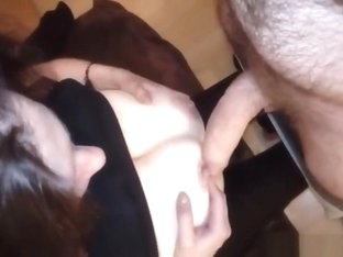 POV cumshot on her perky tits while she is on her knees