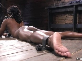 Shackled ebony babe hard whipped
