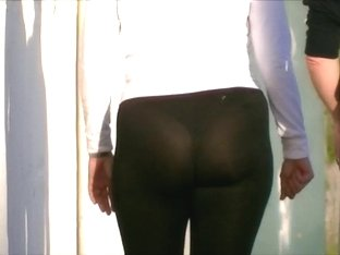 Candid big ass milf in see through spandex