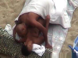 Nudist black couple spied fucking in beach