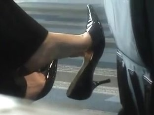 candid shoe tease and footplay at the airport