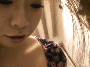 Buxom Asian cutie lets a downblouse voyeur size her up