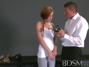 BDSM XXX Teen sub girls face drip with Masters hot cum