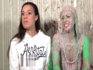 A Long Hair Girl and Her Friend get Slimed and Pied