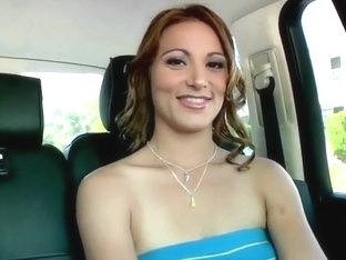 Babe shows her pierced pussy in my car after the audition