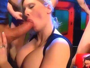 Girl on girl licking and bukkake orgy