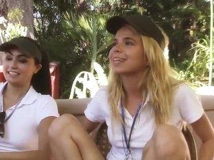 Lesbian friends fuck outdoor