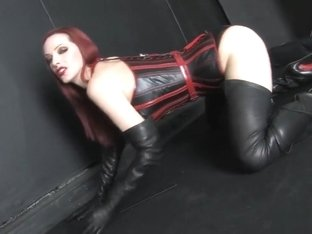 Redhead sexy corset high heels boots