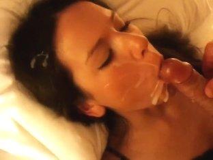 Alluring playgirl lets her boyfriend jack off on her face.