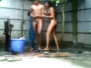 Indian girl showers with her bf outside and fucks