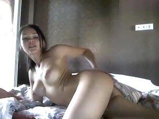 Brunette Aksana sucks dildo and fucks herself