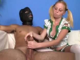 Petite teen tugging dick of a masked man
