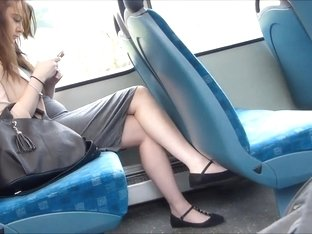 Candid Sexy Legs On Train