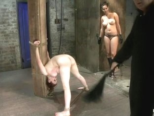 Big titted 19yr old is bound strappado to a beam & double penetrated. Made to cum over & over.