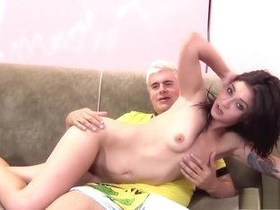 Slender girl with a splendid ass Aimee Black is addicted to hard meat