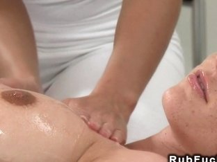 Blonde masseuse tribbing sexy redhead