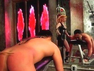 Large zeppelins female-dominator Lolita drubbing her bondman boy