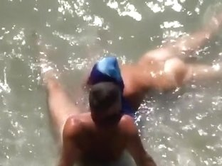 Voyeur busts nudists in the sea. that blowjob tasted salty for sure !!!