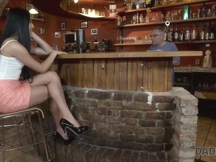 DADDY4K. Old owner of bar satisfies needs together with son's hot GF