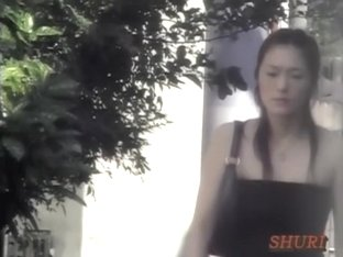 Instant top sharking attack with tall Japanese broad being really surprised