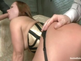 Slave Wife gets Double Stuffed in Bondage