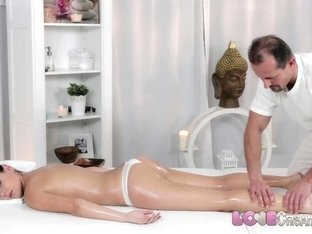 Love Creampie Adorable petite girl gets cum on table