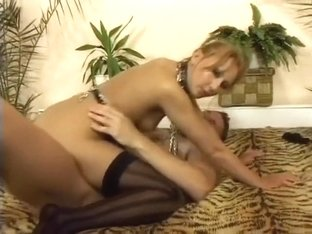 Wild blonde on a leash sucks a big dick and gets pounded hard and deep on the bed
