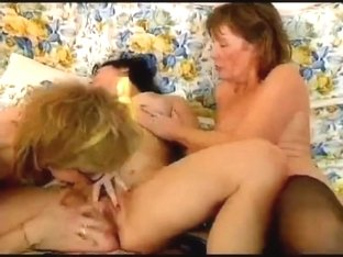 two lesbian college girl with old granny