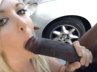 Stunning blonde Callie Cobra is given a monstrous black cock to suck