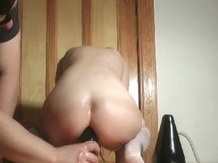 Sexy horny slut rides huge sex toy in dirty porn video