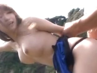 Nasty model Claire Hasumi gets pounded outdoors