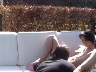 Outdoor sex session with busty brunette hair hair