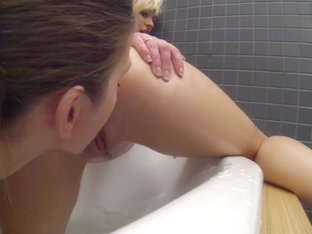 Lesbians have hot pussy eating sex in the bath