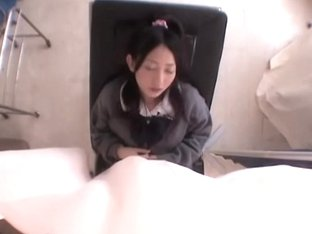 Hardcore fingering for hot Jap teen during pussy exam