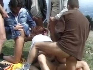 dilettante redhead outdoor double penetration team fuck
