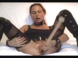 Girl masturbates with baseball bat