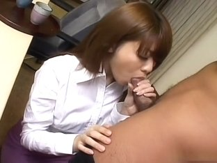 Horny Nagisa Sasaki blowjob and cum swallow