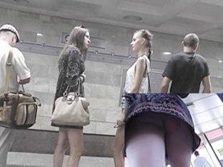 Hot gals on underground upskirt movie scene