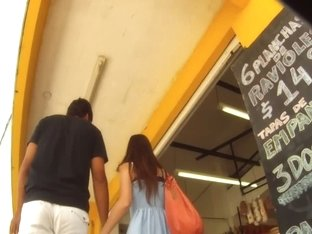 Candid street upskirt with Asian skinny babe