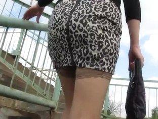 Stockings tops under skirt