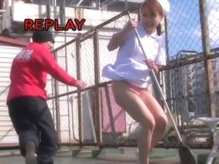 Kinky man sharking Japanese girl sweeping the ground