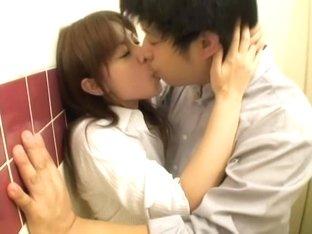 Japanese couple has sex in bathroom in spy cam porn movie